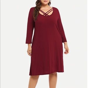 Red Strappy Long Sleeve Dress